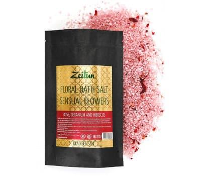 """Цветочная соль для ванн """"Волнующие цветы"""" с розой, геранью и гибискусом"""