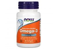 Омега-3 очищенная на молекулярном уровне, Now Foods, 30 капсул