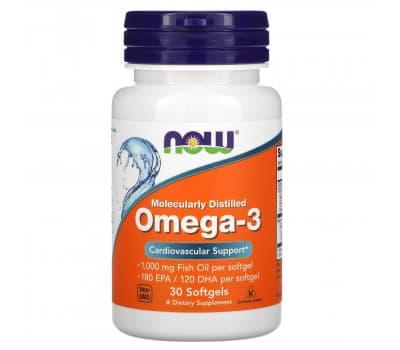 Омега-3, Now Foods, 30 капсул
