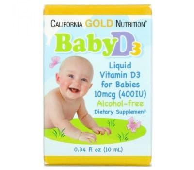 Жидкий витамин D3 для детей, Gold Nutrition, 10 мкг (400 МЕ), 10 мл