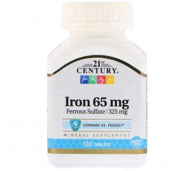 21st Century, Железо, 65 мг, 120 таблеток