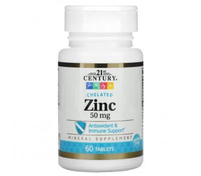21st Century, Цинк, 50 мг, 60 таблеток