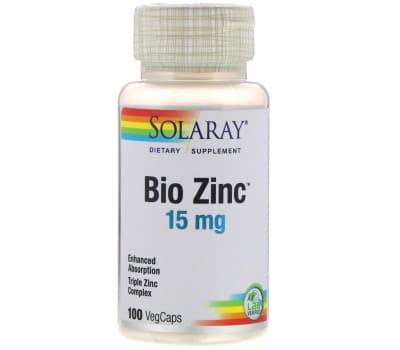 Цинк Solaray, Bio Zinc, 15 мг, 100 растительных капсул