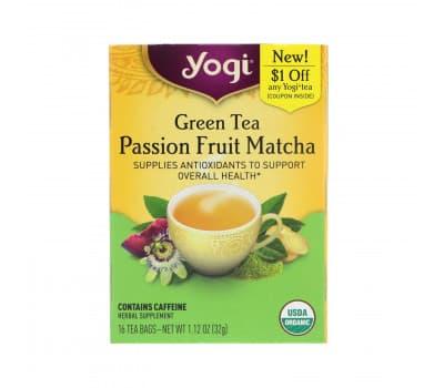 YOGI TEA Passion Fruit Matcha / Комплексная поддержка Маракуя и матча, 16 чайных пакетиков